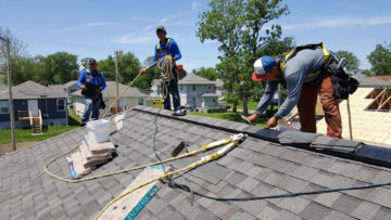 Nailing Habitat roof ridge