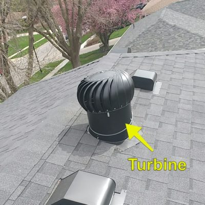 Turbine on roof