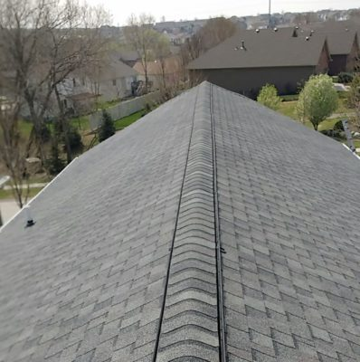 Ridge vent along roof