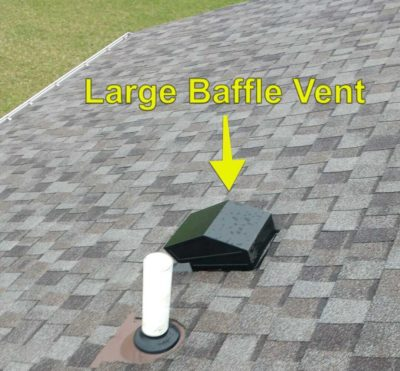 Large baffle vent on roof