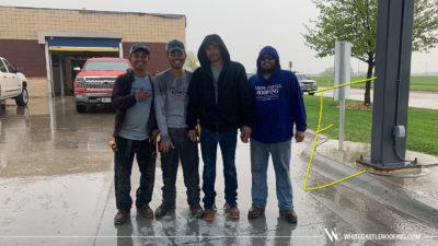 Smiley crew in rain