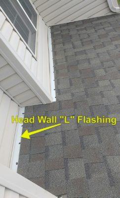 Head wall flashing on roof