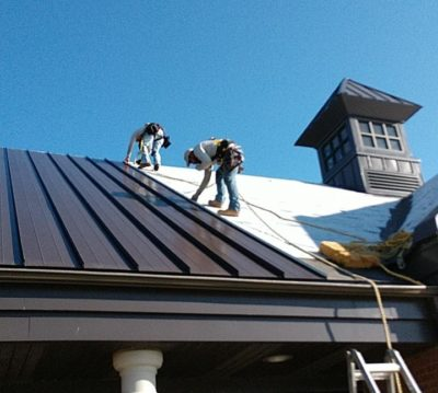 Crew working on roof