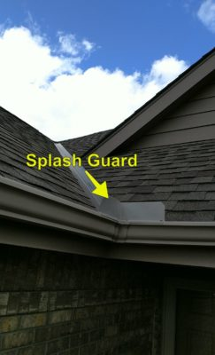 Splash guard on a roof's gutters