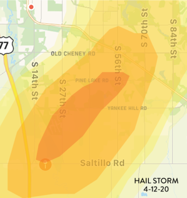 April 12, 2020 Lincoln Hail Impact Map