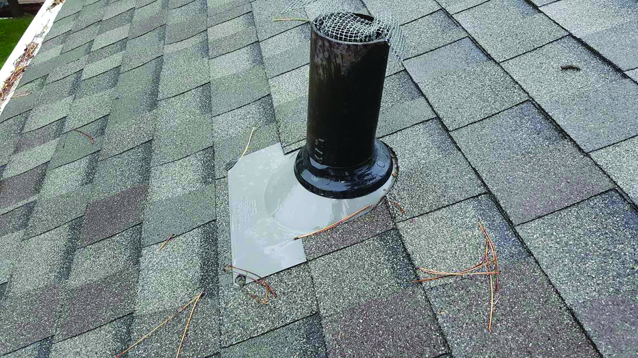 Plumbing boot on a roof